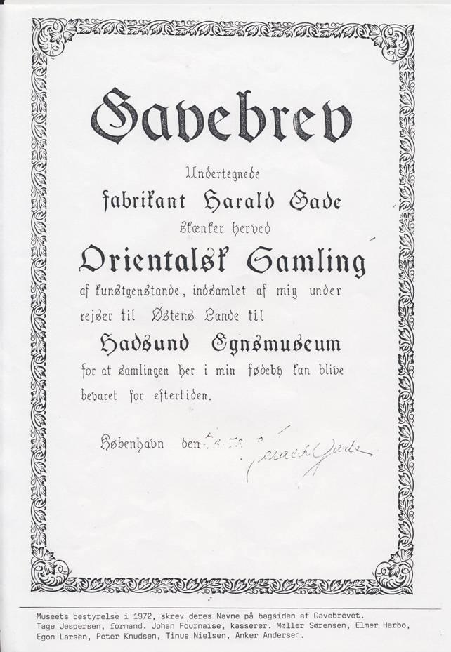 Den orientalske samling Hadsund Harald Gade